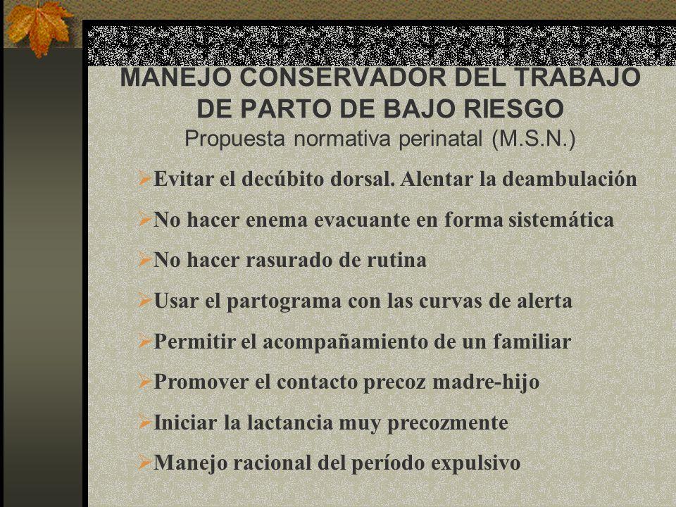 MANEJO CONSERVADOR DEL TRABAJO DE PARTO DE BAJO RIESGO Propuesta normativa perinatal (M.S.N.) Evitar el decúbito dorsal. Alentar la deambulación No ha