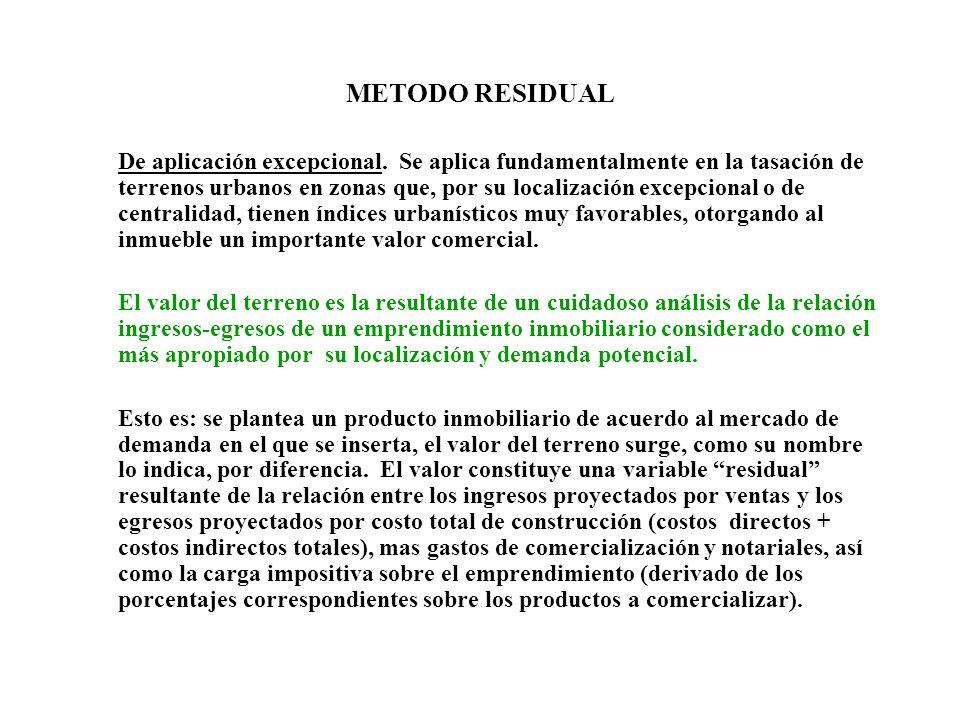 METODO RESIDUAL De aplicación excepcional. Se aplica fundamentalmente en la tasación de terrenos urbanos en zonas que, por su localización excepcional