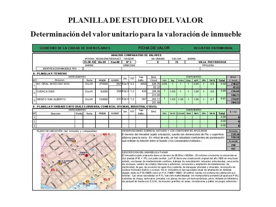 PLANILLA DE ESTUDIO DEL VALOR Determinación del valor unitario para la valoración de inmueble