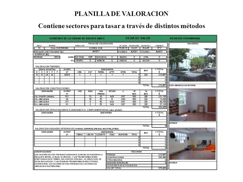 PLANILLA DE VALORACION Contiene sectores para tasar a través de distintos métodos