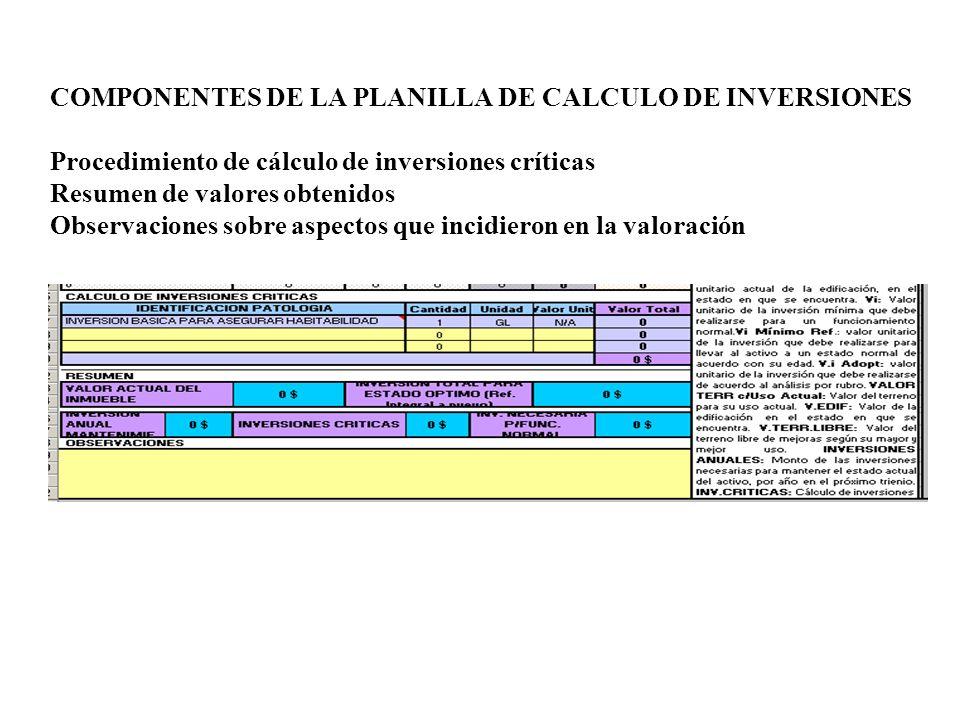 COMPONENTES DE LA PLANILLA DE CALCULO DE INVERSIONES Procedimiento de cálculo de inversiones críticas Resumen de valores obtenidos Observaciones sobre