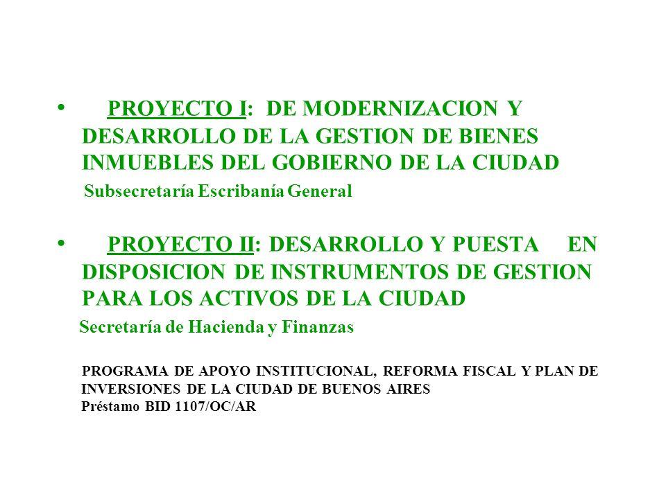PROYECTO I: DE MODERNIZACION Y DESARROLLO DE LA GESTION DE BIENES INMUEBLES DEL GOBIERNO DE LA CIUDAD Subsecretaría Escribanía General PROYECTO II: DE