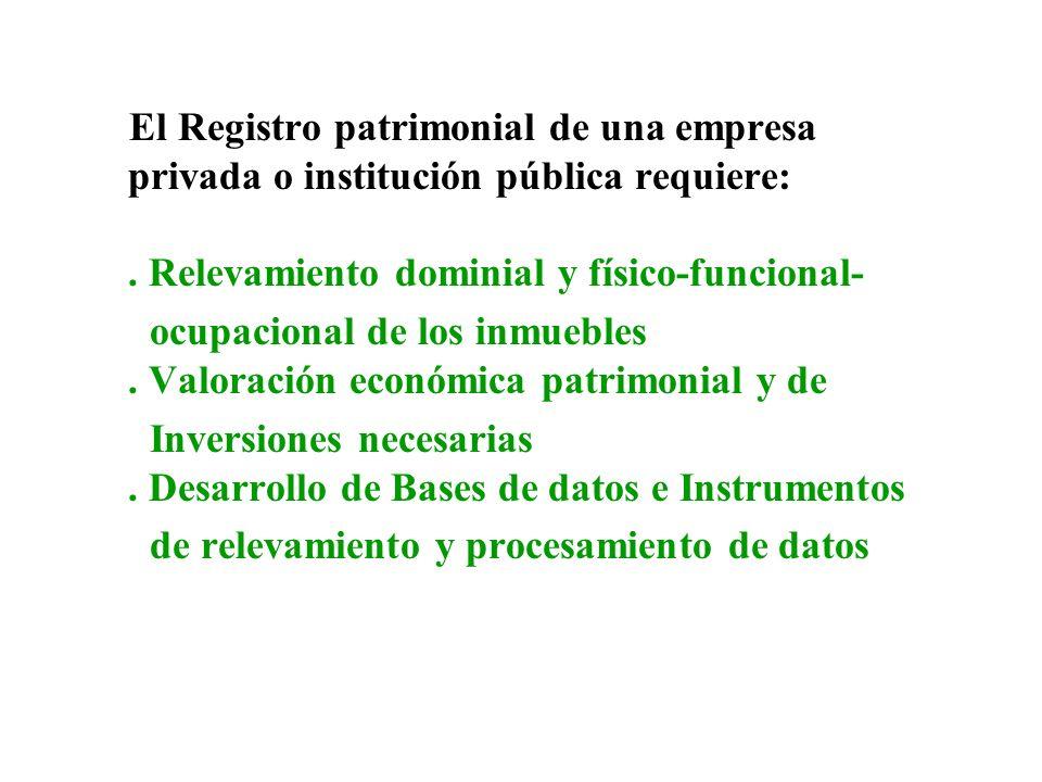 El Registro patrimonial de una empresa privada o institución pública requiere:. Relevamiento dominial y físico-funcional- ocupacional de los inmuebles