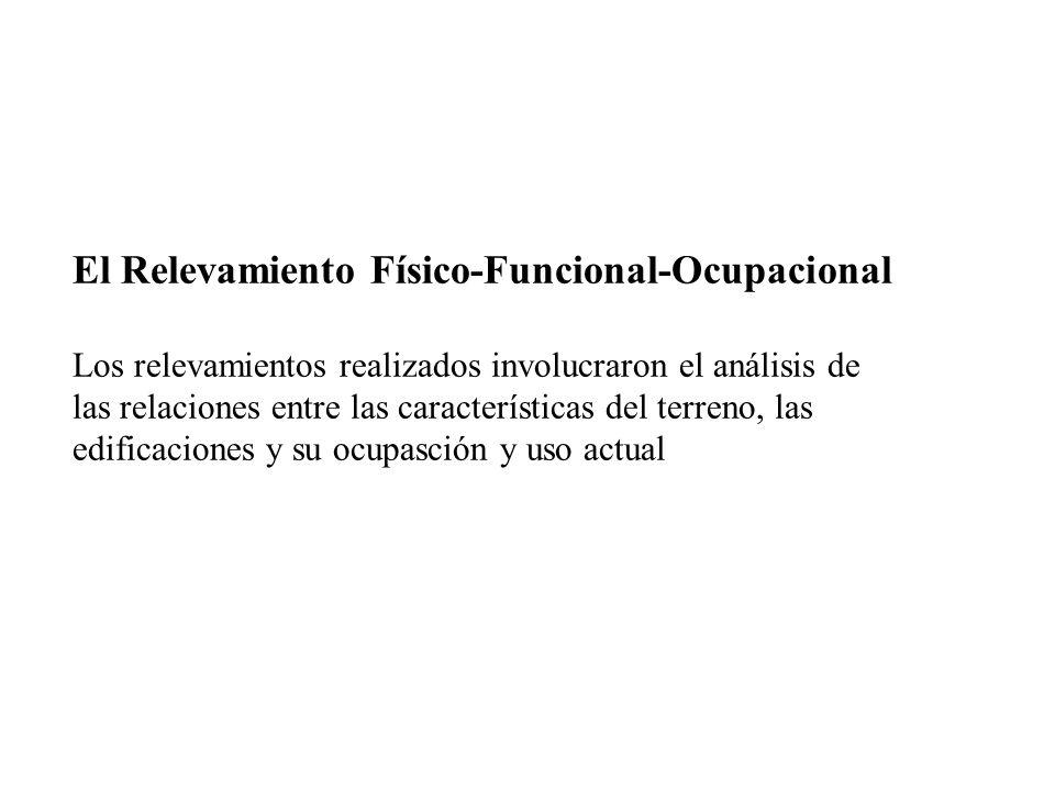 El Relevamiento Físico-Funcional-Ocupacional Los relevamientos realizados involucraron el análisis de las relaciones entre las características del ter