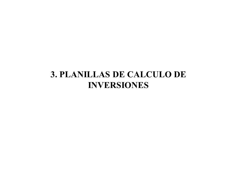 3. PLANILLAS DE CALCULO DE INVERSIONES