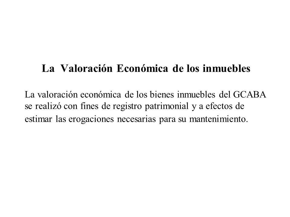 La Valoración Económica de los inmuebles La valoración económica de los bienes inmuebles del GCABA se realizó con fines de registro patrimonial y a ef