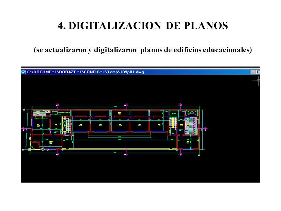 4. DIGITALIZACION DE PLANOS (se actualizaron y digitalizaron planos de edificios educacionales)