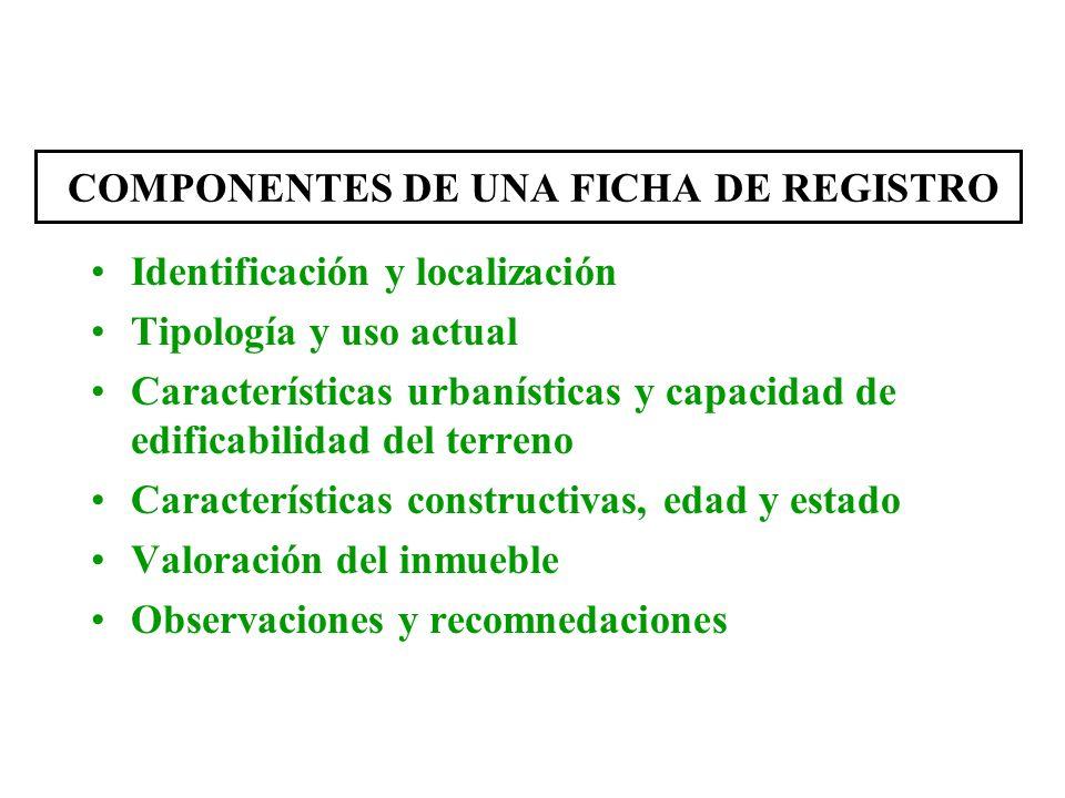 COMPONENTES DE UNA FICHA DE REGISTRO Identificación y localización Tipología y uso actual Características urbanísticas y capacidad de edificabilidad d