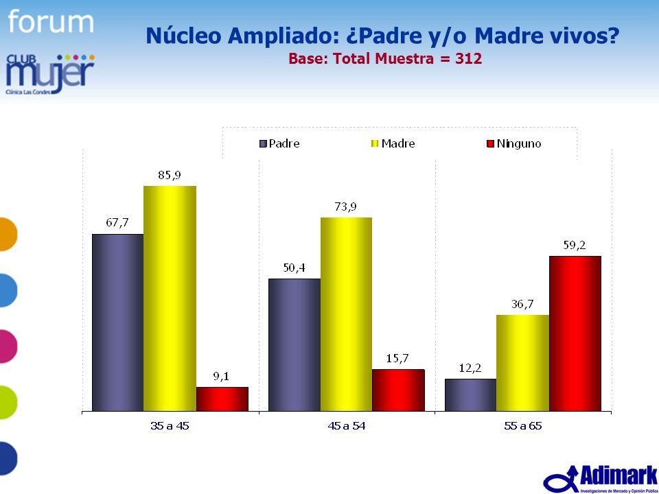15 Estudio Mujer Madura, Mayo 2005 Núcleo Ampliado: ¿Padre y/o Madre vivos? Base: Total Muestra = 312
