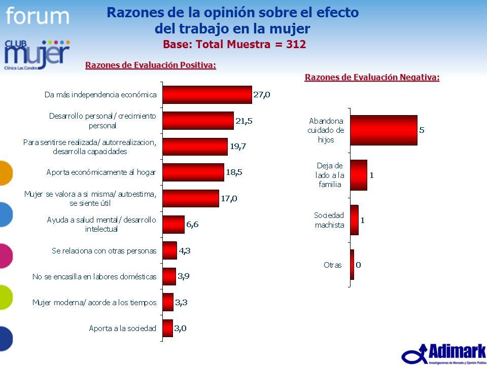 44 Estudio Mujer Madura, Mayo 2005 Razones de la opinión sobre el efecto del trabajo en la mujer Base: Total Muestra = 312 Razones de Evaluación Posit