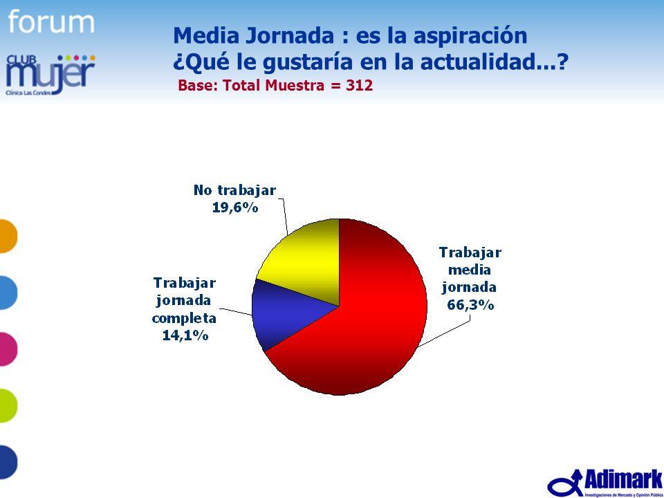 45 Estudio Mujer Madura, Mayo 2005 Media Jornada : es la aspiración ¿Qué le gustaría en la actualidad...? Base: Total Muestra = 312