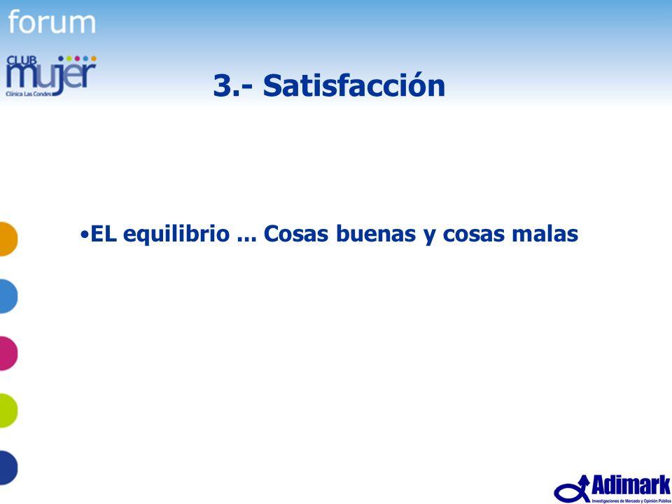 51 Estudio Mujer Madura, Mayo 2005 3.- Satisfacción EL equilibrio... Cosas buenas y cosas malas