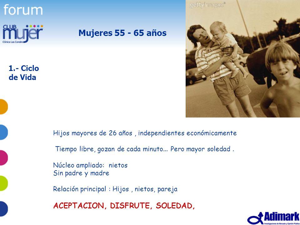 7 Estudio Mujer Madura, Mayo 2005 Mujeres 55 - 65 años 1.- Ciclo de Vida Hijos mayores de 26 años, independientes económicamente Tiempo libre, gozan d