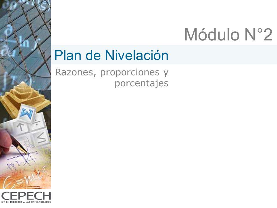Módulo N°2 Razones, proporciones y porcentajes Plan de Nivelación