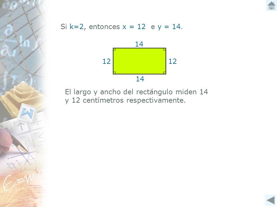 Si k=2, entonces x = 12 e y = 14. 12 14 12 El largo y ancho del rectángulo miden 14 y 12 centímetros respectivamente.