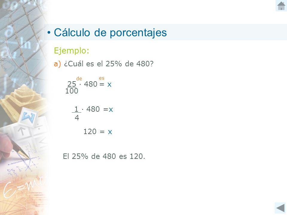 Cálculo de porcentajes Ejemplo: a) ¿Cuál es el 25% de 480? El 25% de 480 es 120. 25 480 = x 100 de es 1 480 =x 4 120 = x
