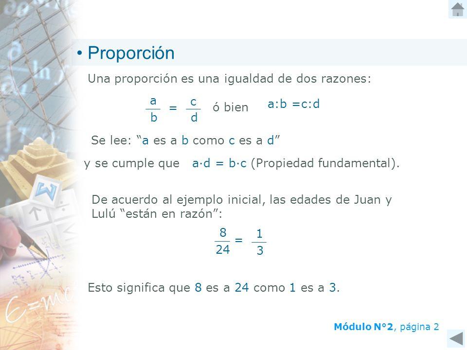 Módulo N°2, página 2 Proporción Una proporción es una igualdad de dos razones: Se lee: a es a b como c es a d = a b c d ó bien a:b =c:d De acuerdo al