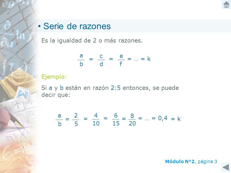 Módulo N°2, página 3 Es la igualdad de 2 o más razones. b a = c d f e == … = k Ejemplo: Si a y b están en razón 2:5 entonces, se puede decir que: = 4