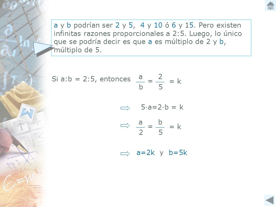 Si a:b = 2:5, entonces 2 5 a b = = k 5a=2b = k a=2k y b=5k b 5 a 2 = = k a y b podrían ser 2 y 5, 4 y 10 ó 6 y 15. Pero existen infinitas razones prop