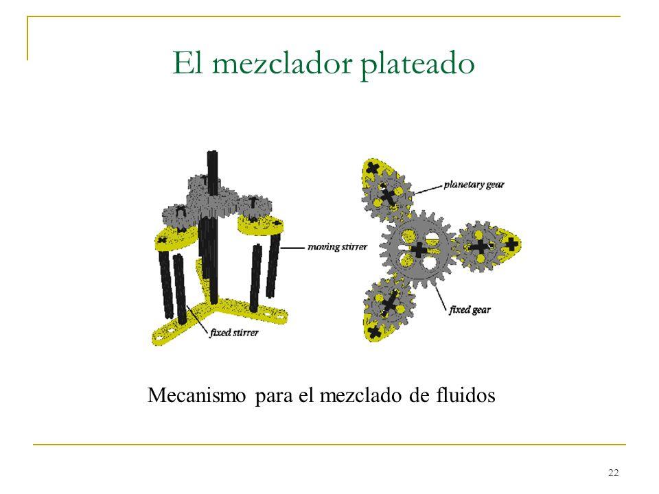22 El mezclador plateado Mecanismo para el mezclado de fluidos