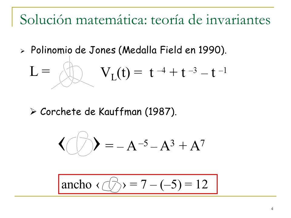 4 Solución matemática: teoría de invariantes Polinomio de Jones (Medalla Field en 1990). V L (t) = t –4 + t –3 – t –1 L = Corchete de Kauffman (1987).