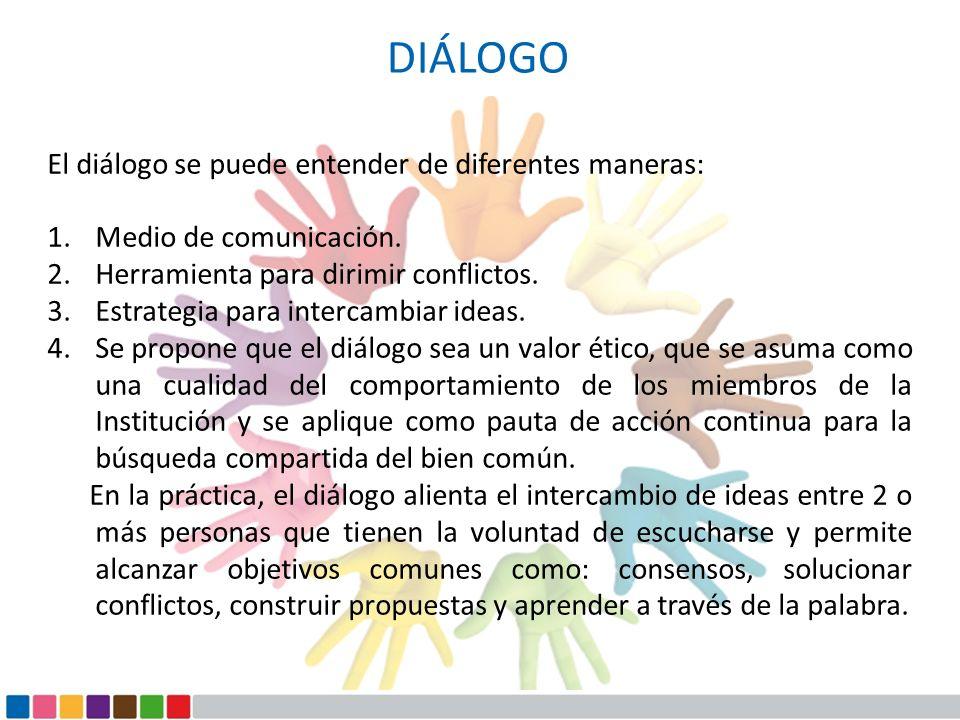 DIÁLOGO El diálogo se puede entender de diferentes maneras: 1.Medio de comunicación. 2.Herramienta para dirimir conflictos. 3.Estrategia para intercam