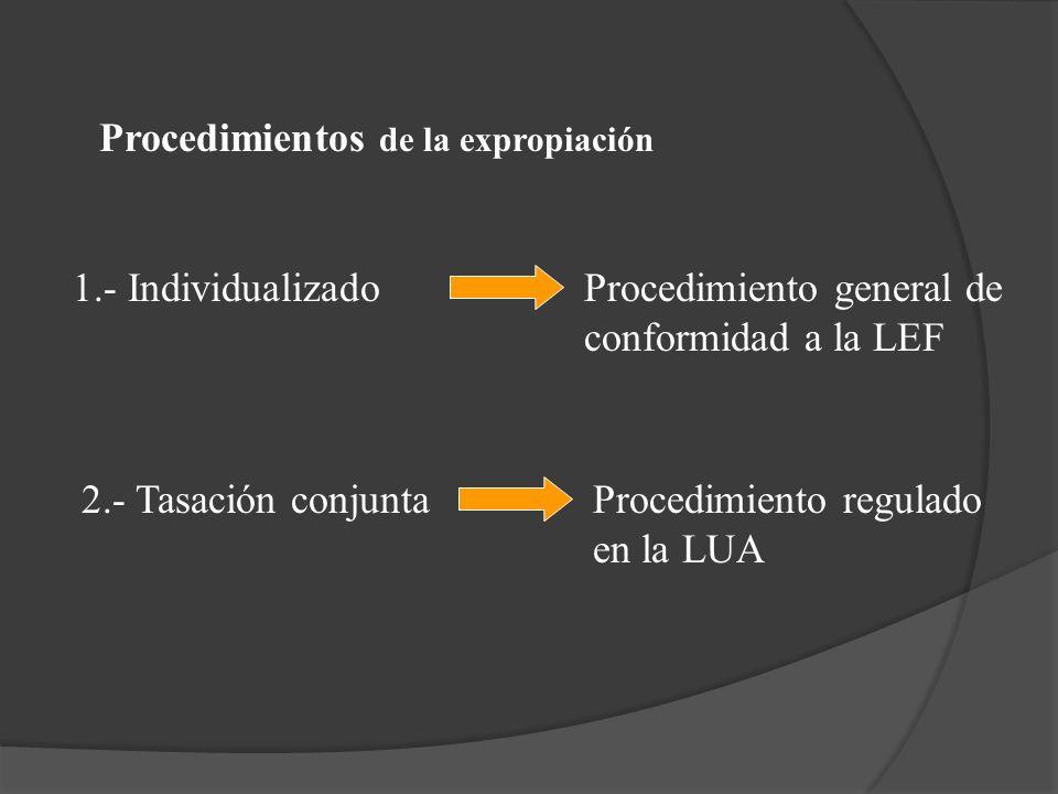 Procedimientos de la expropiación 1.- IndividualizadoProcedimiento general de conformidad a la LEF 2.- Tasación conjuntaProcedimiento regulado en la L