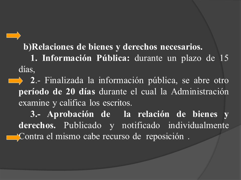 b)Relaciones de bienes y derechos necesarios. 1. Información Pública: durante un plazo de 15 días, 2.- Finalizada la información pública, se abre otro