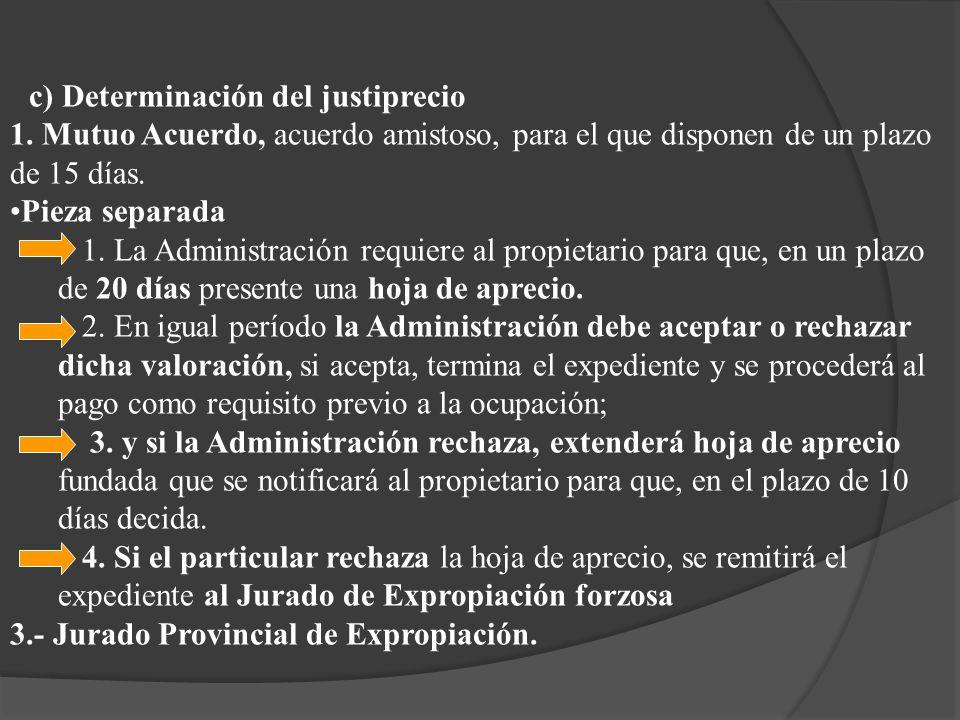 c) Determinación del justiprecio 1. Mutuo Acuerdo, acuerdo amistoso, para el que disponen de un plazo de 15 días. Pieza separada 1. La Administración