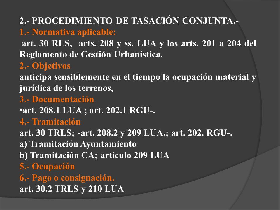 2.- PROCEDIMIENTO DE TASACIÓN CONJUNTA.- 1.- Normativa aplicable: art. 30 RLS, arts. 208 y ss. LUA y los arts. 201 a 204 del Reglamento de Gestión Urb