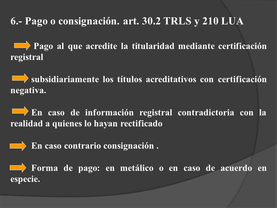 6.- Pago o consignación. art. 30.2 TRLS y 210 LUA Pago al que acredite la titularidad mediante certificación registral subsidiariamente los títulos ac