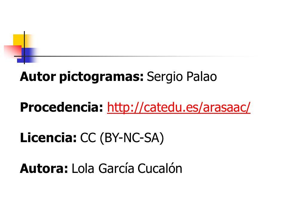 Autor pictogramas: Sergio Palao Procedencia: http://catedu.es/arasaac/http://catedu.es/arasaac/ Licencia: CC (BY-NC-SA) Autora: Lola García Cucalón