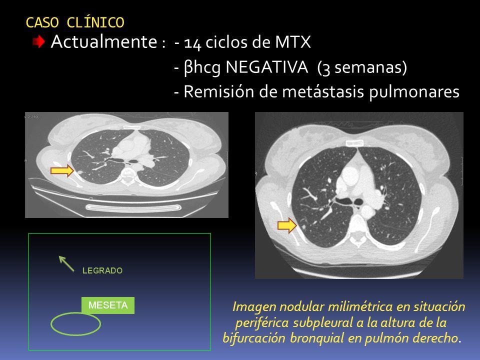 CASO CLÍNICO Actualmente : - 14 ciclos de MTX - βhcg NEGATIVA (3 semanas) - Remisión de metástasis pulmonares Imagen nodular milimétrica en situación