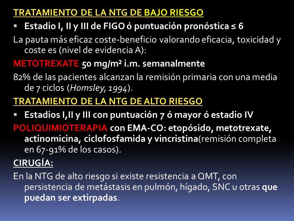 TRATAMIENTO DE LA NTG DE BAJO RIESGO Estadio I, II y III de FIGO ó puntuación pronóstica 6 La pauta más eficaz coste-beneficio valorando eficacia, tox