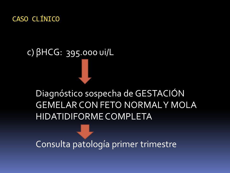c) βHCG: 395.000 ui/L Diagnóstico sospecha de GESTACIÓN GEMELAR CON FETO NORMAL Y MOLA HIDATIDIFORME COMPLETA Consulta patología primer trimestre