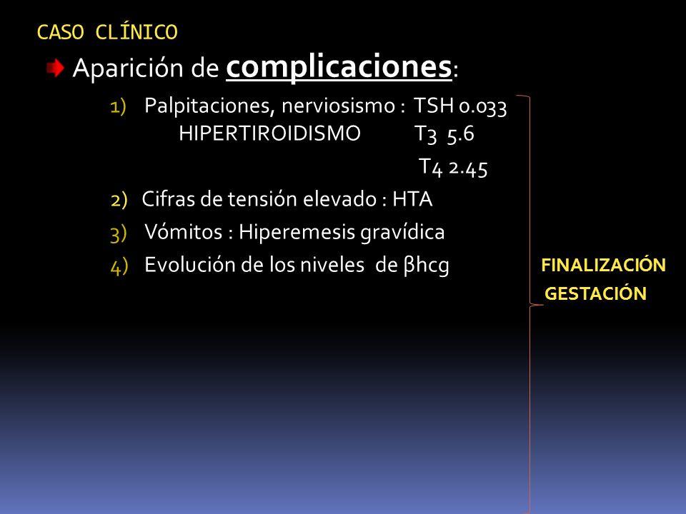 CASO CLÍNICO Aparición de complicaciones : 1)Palpitaciones, nerviosismo : TSH 0.033 HIPERTIROIDISMO T3 5.6 T4 2.45 2) Cifras de tensión elevado : HTA
