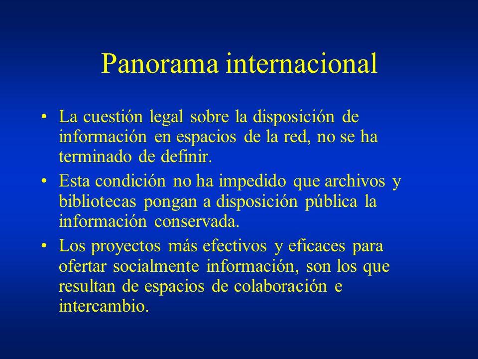 Panorama internacional La cuestión legal sobre la disposición de información en espacios de la red, no se ha terminado de definir. Esta condición no h