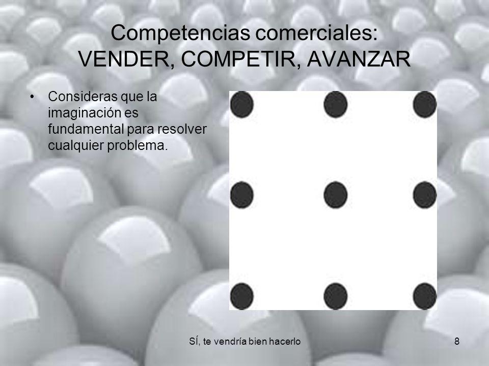 SÍ, te vendría bien hacerlo 8 Competencias comerciales: VENDER, COMPETIR, AVANZAR Consideras que la imaginación es fundamental para resolver cualquier problema.