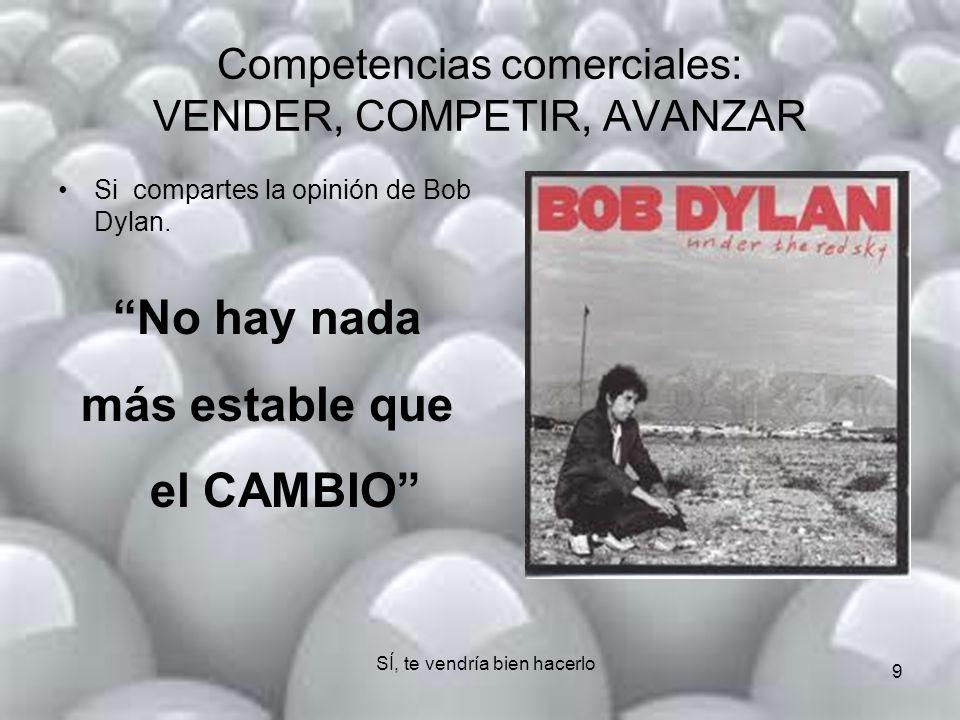 9 Competencias comerciales: VENDER, COMPETIR, AVANZAR Si compartes la opinión de Bob Dylan.