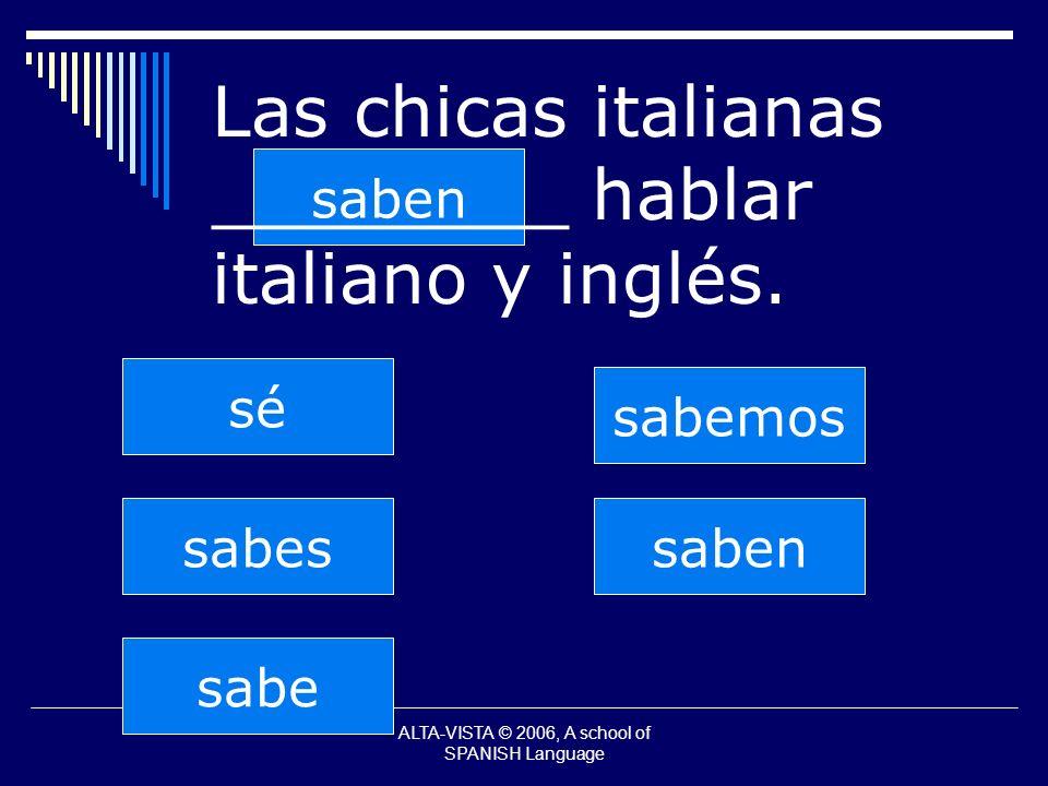 saben sabes sabe sabemos saben sé Las chicas italianas ________ hablar italiano y inglés.