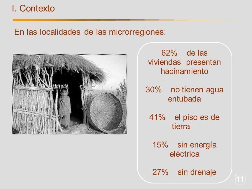 11 I. Contexto En las localidades de las microrregiones: 62%de las viviendas presentan hacinamiento 30%no tienen agua entubada 41%el piso es de tierra