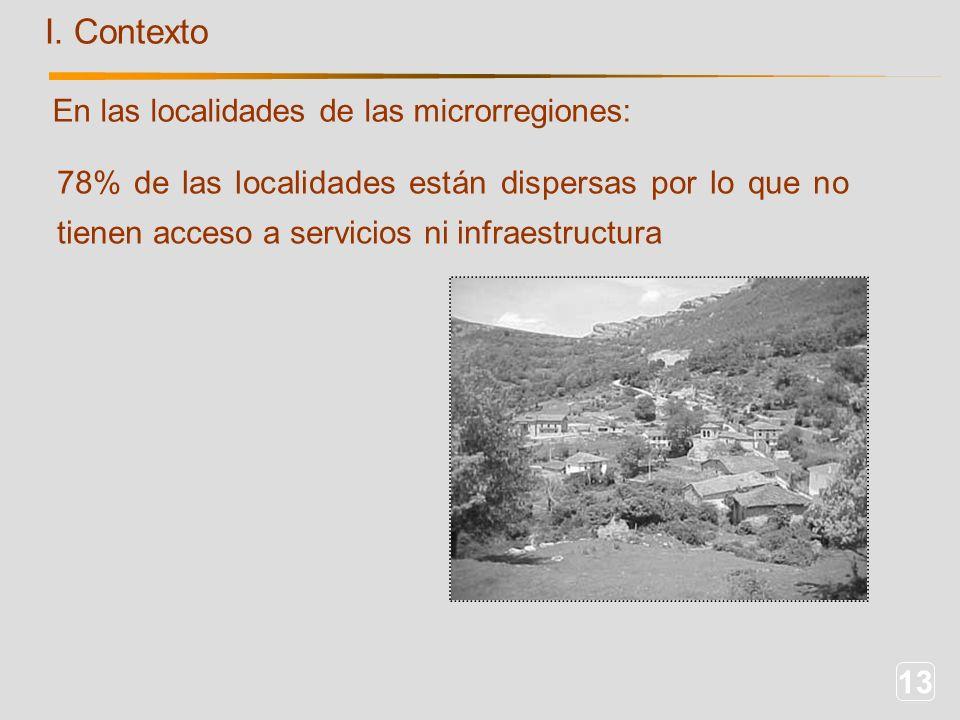 13 I. Contexto 78% de las localidades están dispersas por lo que no tienen acceso a servicios ni infraestructura En las localidades de las microrregio