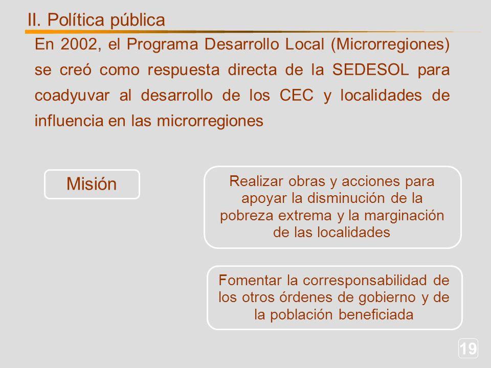 19 En 2002, el Programa Desarrollo Local (Microrregiones) se creó como respuesta directa de la SEDESOL para coadyuvar al desarrollo de los CEC y localidades de influencia en las microrregiones II.