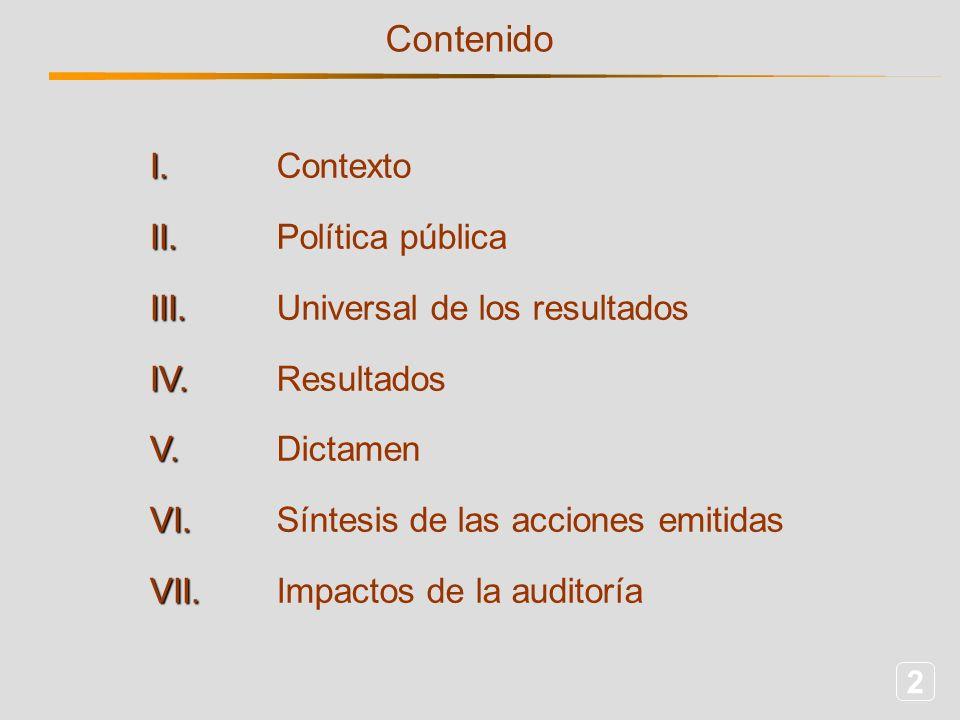 2 Contenido I.II.III.IV.V.VI.VII. Contexto Política pública Universal de los resultados Resultados Dictamen Síntesis de las acciones emitidas Impactos