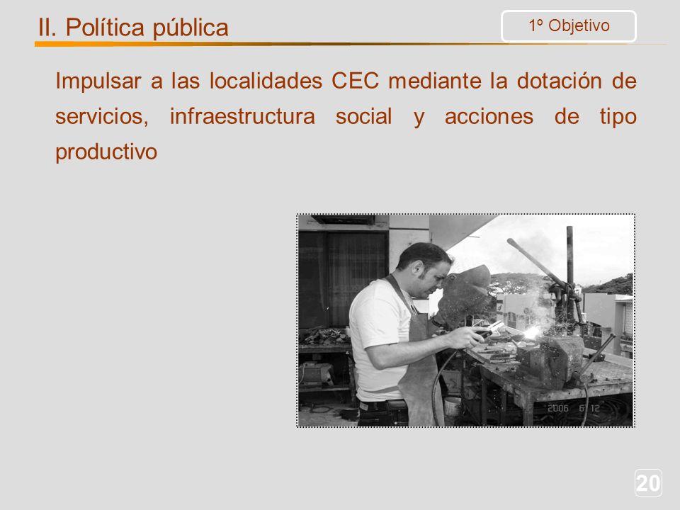 20 Impulsar a las localidades CEC mediante la dotación de servicios, infraestructura social y acciones de tipo productivo 1º Objetivo II. Política púb