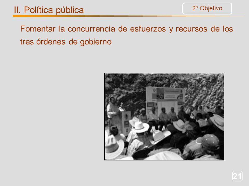 21 Fomentar la concurrencia de esfuerzos y recursos de los tres órdenes de gobierno 2º Objetivo II. Política pública