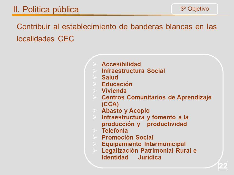 22 Contribuir al establecimiento de banderas blancas en las localidades CEC Accesibilidad Infraestructura Social Salud Educación Vivienda Centros Comu