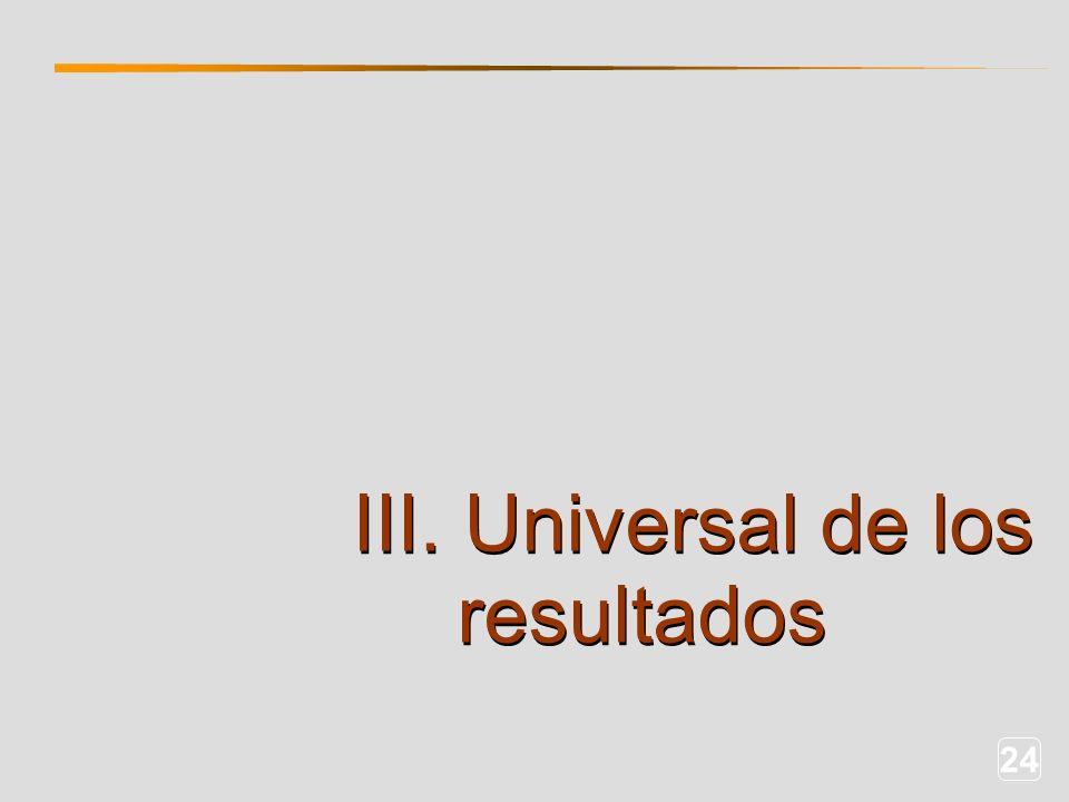 24 III. Universal de los resultados