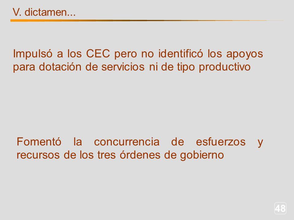 48 V. dictamen... Impulsó a los CEC pero no identificó los apoyos para dotación de servicios ni de tipo productivo Fomentó la concurrencia de esfuerzo