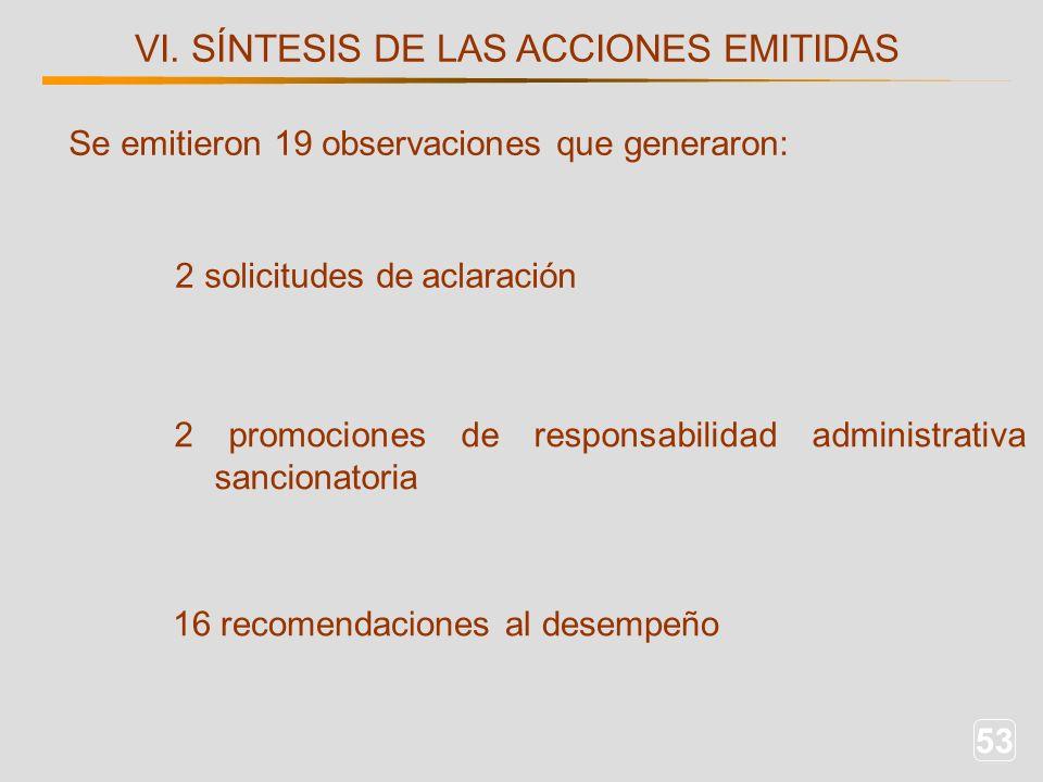 53 VI. SÍNTESIS DE LAS ACCIONES EMITIDAS 2 solicitudes de aclaración 16 recomendaciones al desempeño Se emitieron 19 observaciones que generaron: 2 pr